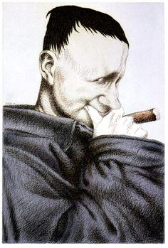 Bertold Brecht retratado por Tullio Pericoli