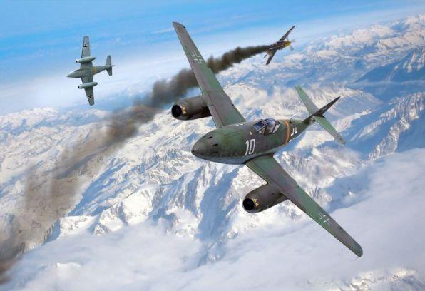Dibujo Me262 derribando Mustang