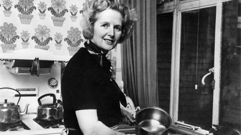 Thatcher en su cocina