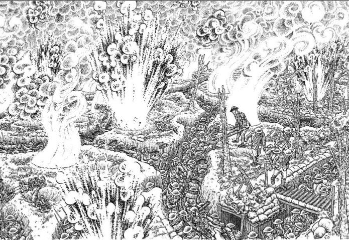Joe Sacco La Gran Guerra bombardeo de trincheras