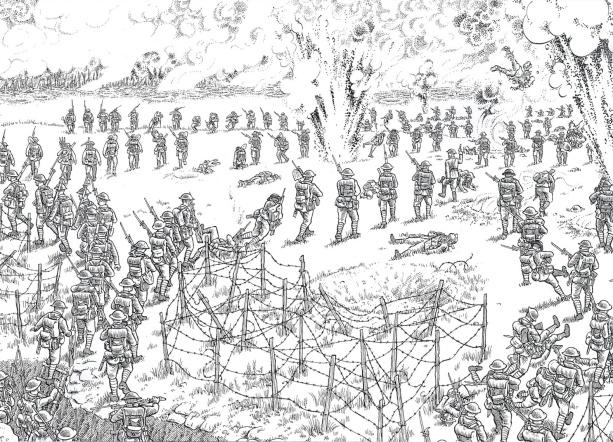 joe-sacco-la-gran-guerra-soldados-avanzando