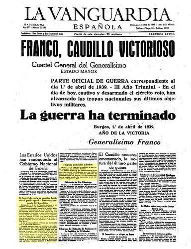 La Vanguardia 1 de abril de 1939