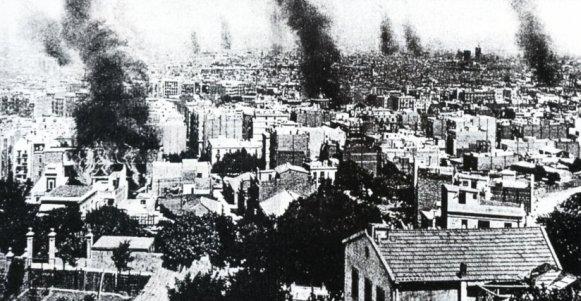 Barcelona Semana Trágica edificios ardiendo
