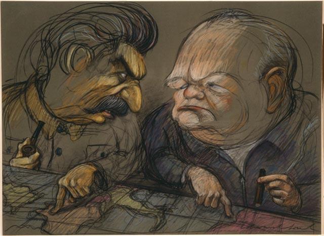 Caricatura de Stalin y Churchill repartiendose Europa