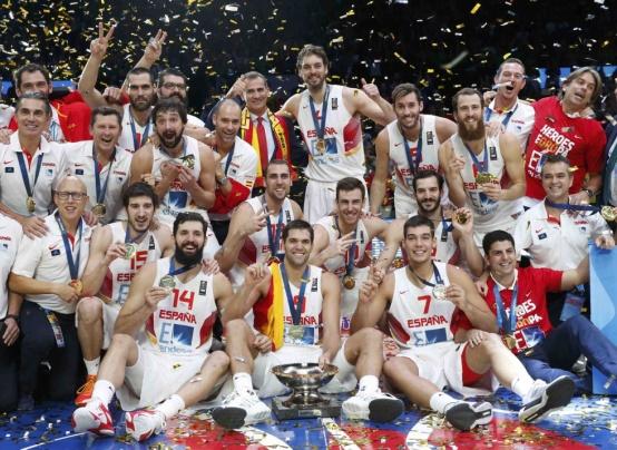 Celebracion victoria España Lituania final Eurobasket