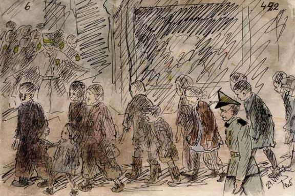 Helga's drawing of youngsters being transported by Nazi guards