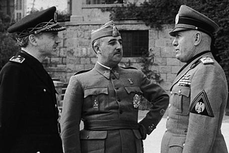 Serrano Suñer, Franco y Mussolini en Bordighera febrero 1941