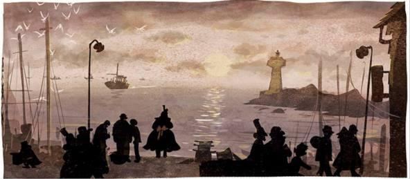 Un oceano de amor Maria esperando en el puerto