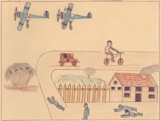 Bombardeo dibujado por un niño de la Guerra Civil Española