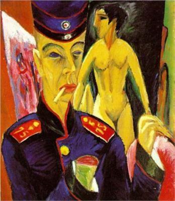 Autorretrato como soldado Ernst Ludwig Kirchner mano cortada