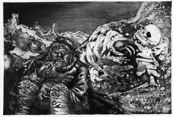 Otto Dix soldado con esqueleto