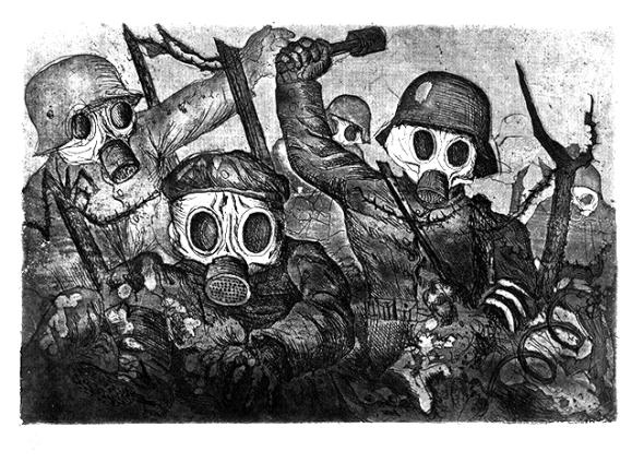 Otto Dix soldados atacando con granadas y máscaras de gas