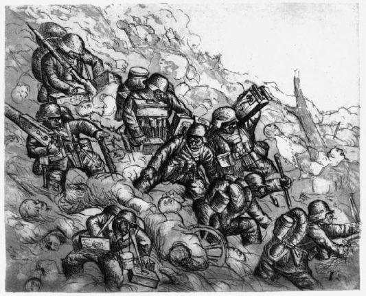Otto Dix soldados con ametralladoras avanzando