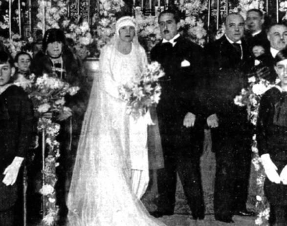 Enrique Meneses el día de su boda con Carmen Miniaty