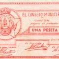 Billete de una peseta Ayuntamiento Ciudad Real GuerraCivil